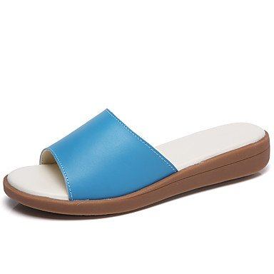 pwne Donna Pantofole &Amp; Flip-Flops Comfort Pelle Estate Autunno Casual Tacco Piatto Blu Piatto Bianco US6 / EU36 / UK4 / CN36