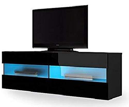 PEGANE Meuble TV Design avec éclairage LED Coloris Noir/Noir Brillant - Dim : 100 x 40 x 35 cm