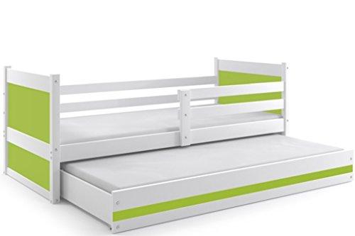 Interbeds Funktionsbett Doppelbett Rico 200x90cm Farbe: weiβ mit Lattenroste und Matratzen (weiβ + grün)