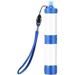 Lomsarsh Soldado portátil Purificador de Filtro de Agua Senderismo Camping Supervivencia Emergencia Emergencia Personalizado para Acampar al Aire Libre y Suministros para Excursionistas (Blanco)
