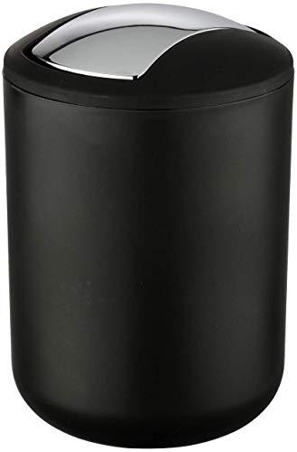 WENKO Kosmetikeimer Brasil schwarz S, absolut bruchsicher Fassungsvermögen: 2 l, Ø 14 x 21 cm, schwarz