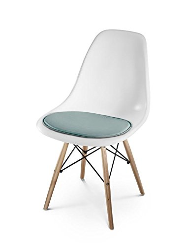 Hill Uomo Living Cuscino per sedia Eames Side Chair - Seduta in pelle imbottita per Design classico Eames Side Chair, morbido e antiscivolo, ca. 36,5 x 41 x 1 cm, Pelle, SHADED MINT, 36,5 x 41 x 1 cm