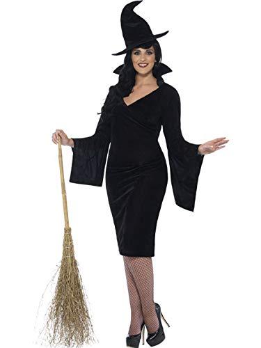 erdbeerclown - Damen Frauen Kostüm kurvige weibliche Hexe Zauberin Magierin Kleid mit Hut, Curvy Witch, perfekt für Halloween Karneval und Fasching, L, Schwarz (Kostüm Hexe Weibliche)