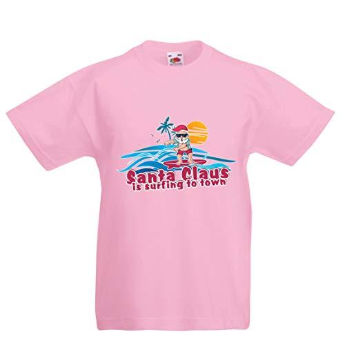 lepni.me Kinder Jungen/Mädchen T-Shirt Weihnachtsmann Surft zur Stadt, Weihnachtstanzhemd (5-6 Years Pink Mehrfarben)