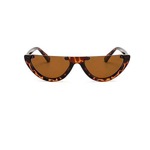Skang Damen Modische Runde Kleiner Halbrahmen Sonnenbrille Transparent Spiegel-Objektiv Einfarbig Leopard Rahmen(Einheitsgröße,A)