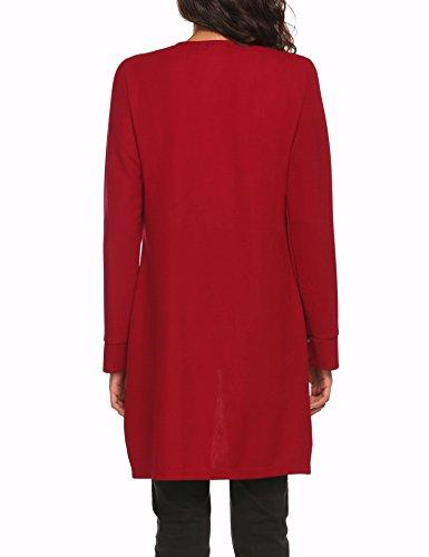 Finejo Damen lang Blazer mit Zipper Jacket-Noos Offene Cardigan Blazer mit Tasche Schwarz XL Weinrot