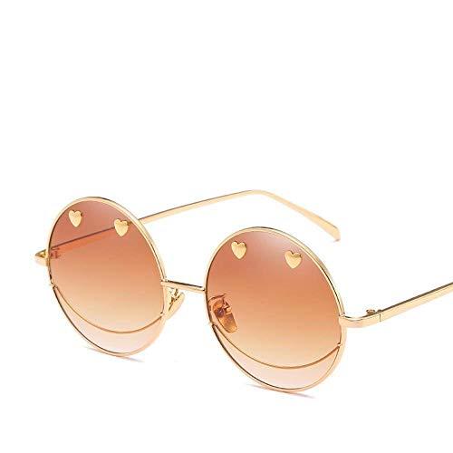 OIBHFO Home Herren Sonnenbrillen Damen NET Rot mit Liebe Smiley Gesicht Sonnenbrille weiblichen kreisförmigen Rahmen unregelmäßigen Persönlichkeit Meer Sonnenbrille Gezeiten