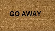 70cm x 40cm GO AWAY Printed Internal Coir Mat, Door Mat Stencilled