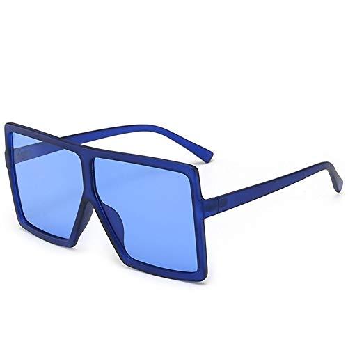 LAOGUAISHOU Weinlese-große Quadratische Sonnenbrille-Frauen-Schutzbrillen-Mens-übergroße Sonnenbrille-weibliche Mode-berühmte Marken-Schwarz-Brillen (Frame Color : Multi, Lenses Color : C18 Blue)