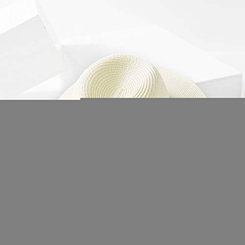 WREIJH Casual Straw Hat for Men Summer Women Sun Hat Fashion Letter M Jazz Beach Cap Unisex Sun Protection Flat Wide Brim Caps,Cream -