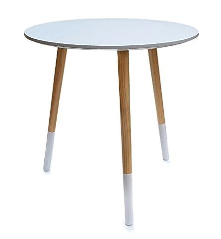 osoltus Beistelltisch Design Holz Couchtisch Sofatisch Tisch Dreibein weiss 48 x 48 cm