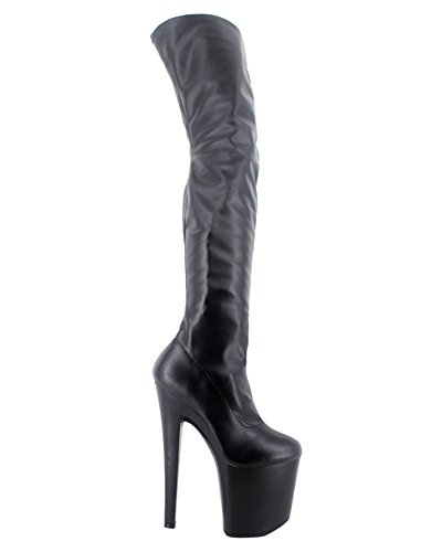 Wonderheel stiletto lack plateau over knee crotch stiefel BLACK MATT