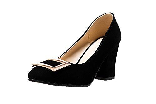 VogueZone009 Femme à Talon Haut PU Cuir Couleur Unie Tire Chaussures Légeres Noir