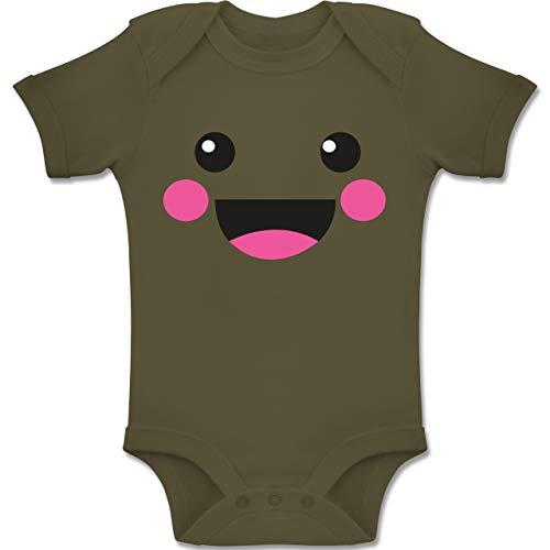 Shirtracer Karneval und Fasching Baby - Süßes Gesicht Fasching Kostüm - 1-3 Monate - Olivgrün - BZ10 - Baby Body Kurzarm Jungen Mädchen