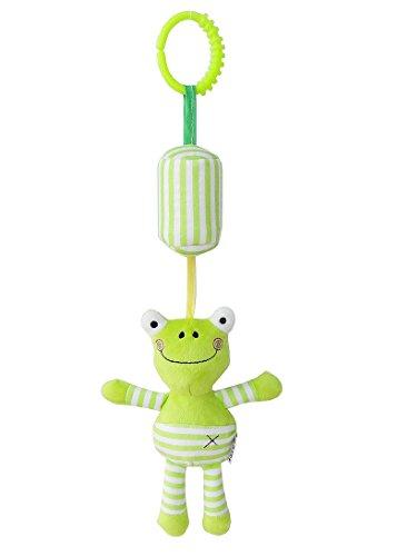 Luxury-uk Soft Book für Kleinkinder Cartoon Tier Hänge Rassel Kleinkind Spielzeug, weiche Flock Stoff, mit Klingel (Frosch)