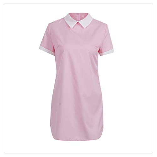 MLULPQ& New Womens Plain Bodycon Short Sleeve Long Top Ladies Stretch Mini Dress Pink M - Knee Length Down Coat