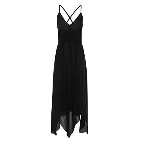 MIOIM - Robe de Soirée - Femmes - Elégante- Col V - Sans Manche-Asymétrique - Sexy Robe de Bal Fendue-Rouge/Noir Noir