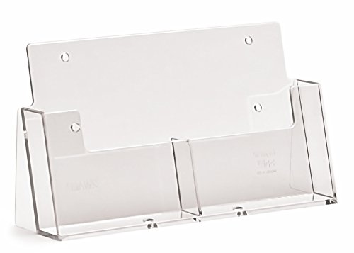 Taymar A6Prospekthalter Hochformat Parabel Zähler stehen, mit 2Taschen, transparent