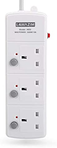 3-Socket Extension Cord with Individual on/off Switch - 3 Meters