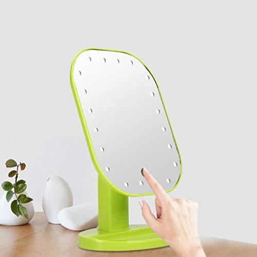 iegel mit Licht, 180 ° frei drehbar Kosmetischer Touchscreen LED Schminkspiegel mit Ablageschale für Damen,Green ()