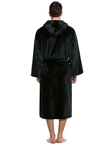 Unibelle Herren Bademantel Lang Saunamantel Morgenmantel Nachtwäsche Robe Mit Kapuze 1-Schwarz