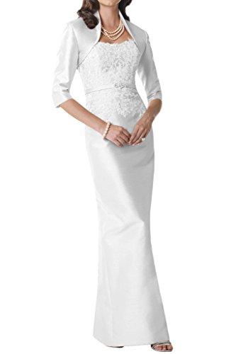 Gorgeous Bride Hochwertig Traegerlos Etui Lang Taft Spitze Mit Bolero Abendkleid Brautmutterkleider Ballkleid Weiß