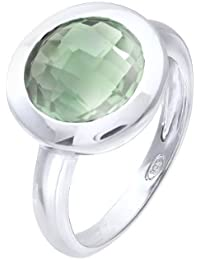 Citerna Rhodium Plated Silver Classic Round Agate Stone Ring