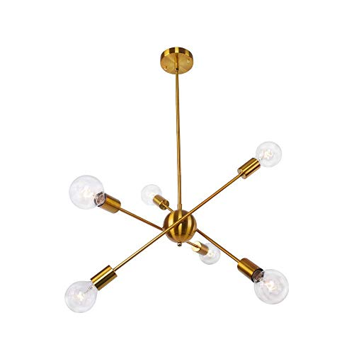 XAJGW Kronleuchter 6 Lichter Messing gebürstet Moderne Anhänger Beleuchtung Gold Mitte Jahrhundert Deckenleuchte für Esszimmer Schlafzimmer Küche Zimmer UL Listed - Ul 123