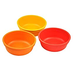 Re-Play Made in The USA 3pk Bowls for Easy Baby, Toddler, and Child Feeding - Orange, Red, Sunny Yellow (Fall)