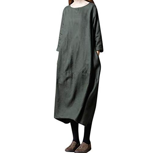 MCYs Damen Leinen Solid Ethno-Style Lose Plus Size Langarm Rundhals Kleid Maxikleid Leinen Kleid Swing A-Linie Cocktailkleid Strandkleid