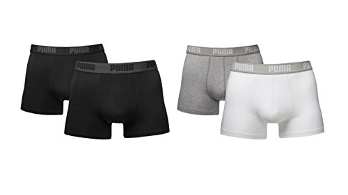 Preisvergleich Produktbild PUMA 4er Pack Boxershorts Pant Boxer Trunk weiß schwarz mix S M L XL WOW NEU ! / Schwarz / Weiß, XL