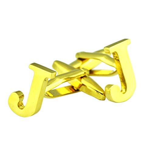 Amody Manschettenknöpfe für Männer AnfangsBrief J Kupfer Klassische Hemdklage Manschettenknöpfe Gold