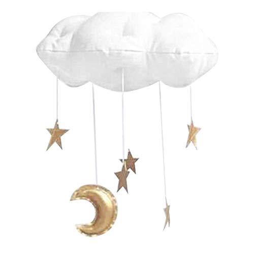 e Mobile Wandbehang Wolke Dekorationen Mond Sterne Girlande für Kinderzimmer Zimmer Wand Tür Dekor - Weiß Gold, Free Size ()