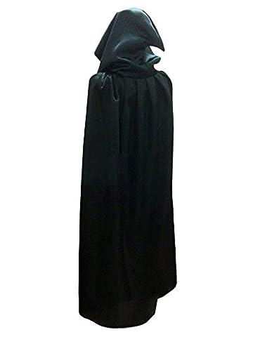 Damen Herren Halloween Umhang Karneval Fasching Kostüm Cape mit Kapuze Schwarz,M