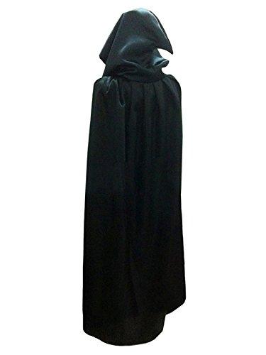 Dreamworldeu Umhang mit Kapuze Lange Cape Vampir Kostüm Halloween Erwachsener Unisex Schwarz (Cape Schwarz Kind)