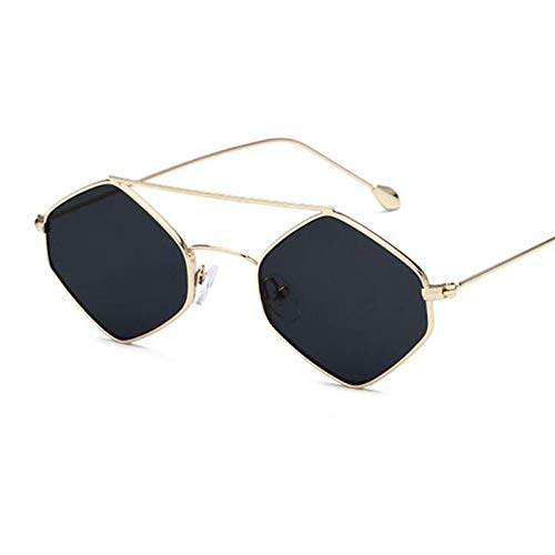 AAMOUSE Sonnenbrillen berühmte Sonnenbrille Frauenmänner doppelbrücke Sechseckige Brille Flache Linse quadratische Sonnenbrille Retro-Stil für Frauen
