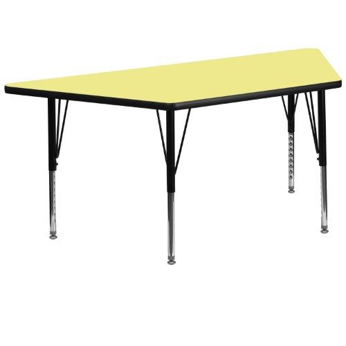 Flash Möbel Trapez Activity Tisch mit grau Fused Laminat Thermal Top/Höhe verstellbar Vorschul Beine, gelb, 57.5