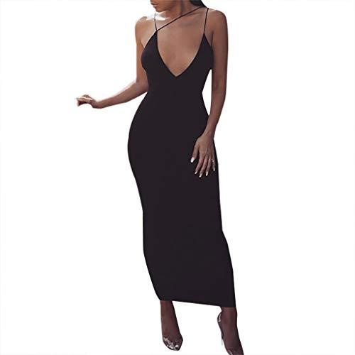 Damen kleid,Jessboy Frauen beiläufiges Langer Abschnitt Sommer Strand Kleid Art- und Weisefrauen V-Ansatz Sleeveless festerKleid Damen sexy Hosenträger Spitze Nähen langen Rock -