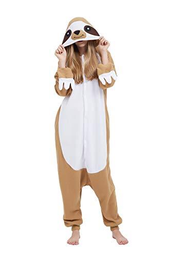 Fandecie Tier Kostüm Tierkostüm Tier Schlafanzug Unau Pyjamas Jumpsuit Kigurumi Damen Herren Erwachsene Cosplay Tier Fasching Karneval Halloween (Unau, M:Höhe 160-169cm)
