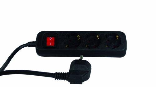 REV Ritter 0512371555 Steckdosenleiste 3 fach mit Schalter KS 1.4 m, schwarz