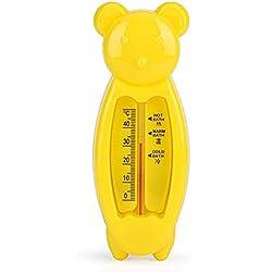 Hilai 1pc Baby-Badethermometer Badewassertemperatur messen Schwimmdock Spielzeug verwendet in Badewanne und Pool (Gelber Bär)