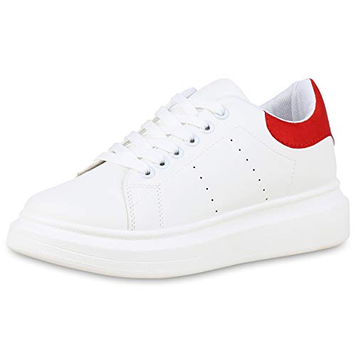 SCARPE VITA Damen Plateau Sneaker Leder-Optik Turnschuhe Schnürer 180040 Weiss Rot 41 -