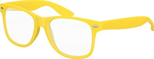 Balinco Hochwertige Nerd Sonnenbrille mit Klarglas matte Rubber Retro Vintage Unisex Brille mit Federscharnier - 17 verschiedene Farben/Modelle wählbar (Gelb)