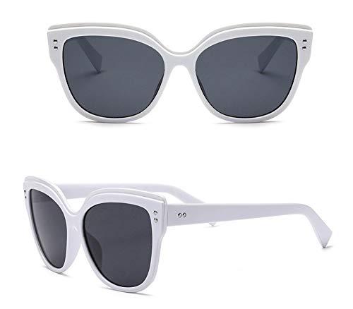 Sonnenbrille,Mode Sonnenbrille Retro Calssic Frame Cat Eye Sonnenbrille Weibliche Brille Weißen Rahmen Graue Linse