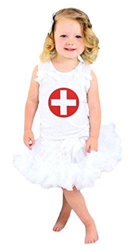 ankenschwester Shirt weiß Rock Girl Kleidung–74bis 122 Gr. XS, weiß (Kid Krankenschwester Kostüme)