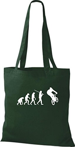 ShirtInStyle Stoffbeutel Jute Evolution Motorrad Fahrrad Biken Stunt Freebike Biker diverse Farbe bottle green