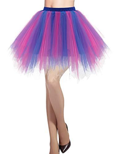 Puffy Mit Röcke Kostüm - Dresstells Damen Tüllrock 50er Rockabilly Petticoat Tutu Unterrock Kurz Ballett Tanzkleid Ballkleid Abendkleid Gelegenheit Zubehör Royal Blue-Fuschia XL