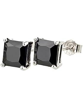 Ohrstecker für Damen, Herren und Kinder aus 925 Silber, schwarzer Onyx eckig