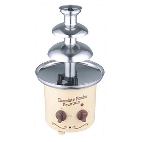 DIOE Haushalt 3-Schicht-Schokoladenbrunnen, Schokolade Wasserfall Maschine, Edelstahl + Kunststoff, einfach zu bedienen, einstellbare Balance Füße, 40 cm hoch -