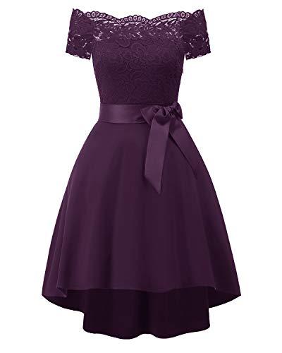 Laorchid Vintage Damen Kleid Spitzenkleid Off Schulter Cocktail Knielang A-Linie Lila S